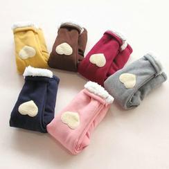 Seashells Kids - Kids Heart Applique Fleece Lined Pants