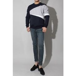 Ohkkage - Color-Block Round-Neck T-Shirt