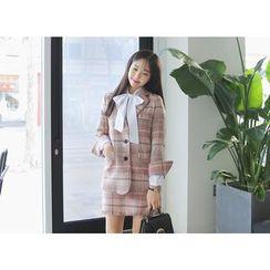 Envy Look - Single-Breasted Check Tweed Jacket