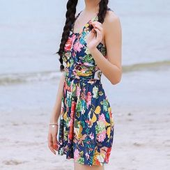 Zeta Swimwear - Floral Print Cutout Back Swimdress