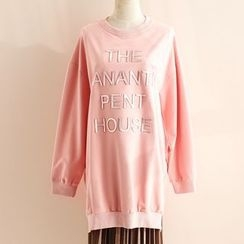 11.STREET - Lettering Embossed Long Pullover