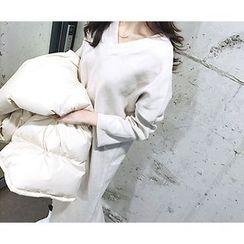 MARSHMALLOW - V-Neck 3/4-Sleeve Maxi Dress