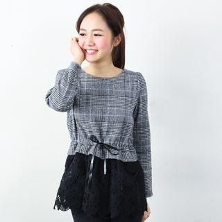 D.P-Shop - Lace-Hem Plaid Top