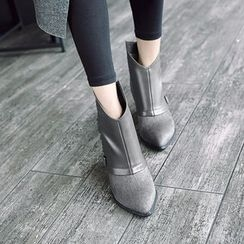 JY Shoes - Chunky Heel Faux Leather Trim Ankle Boots