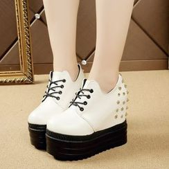 Wello - Studded Hidden Wedge Platform Lace-Up Shoes