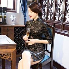 Montebelle - 七分袖豹紋旗袍