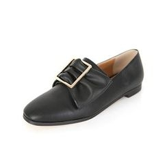 DABAGIRL - Square-Toe Buckled Bow Loafers