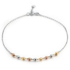 MaBelle - 14K Tri Colour White Yellow Rose Gold Diamond-Cut Bead Anklet (23cm)