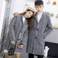 Bay Go Mall - Tweed Long Notch Lapel Coat