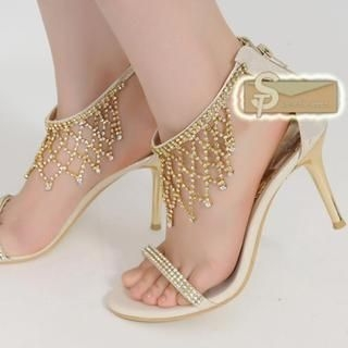 77Queen - Rhinestone Heel Sandals