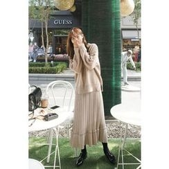 CHERRYKOKO - Accordion-Pleat Chiffon Long Skirt