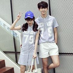 Azure - Couple Matching Striped Short Sleeve Baseball Shirt / Sleeveless Shirt Dress