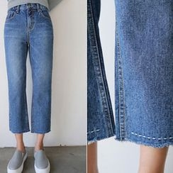 Hello sweety - Stitch-Trim Straight-Cut Jeans
