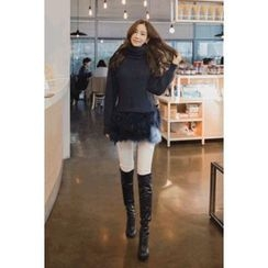 migunstyle - Turtle-Neck Faux-Fur Hem Knit Top