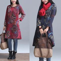 Diosa - Floral Print Long Sleeve Dress