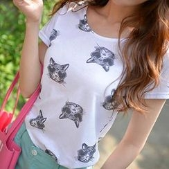 Bongjashop - Round-Neck Cat Print T-Shirt