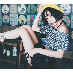 Jumei - 套裝: 露肩短袖上衣 + 比基尼上衣 + 游泳短褲 + 泳裙