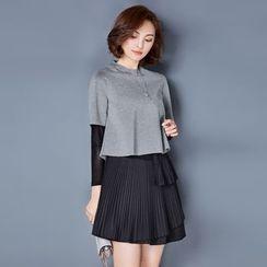 AiSun - Set: Plain Top + Accordion Dress