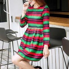 Angel Shine - Striped Long Sleeve A-Line Dress