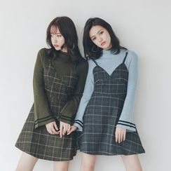 SUYISODA - Check Mock Two-Piece Dress
