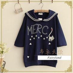 Fairyland - Cat Print Sailor Collar Elbow-Sleeve Top