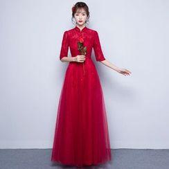 Luxury Style - Stand-collar Elbow-Sleeve Evening Dress