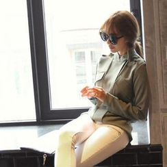 REDOPIN - Round-Neck Snap-Button Chiffon Blouse