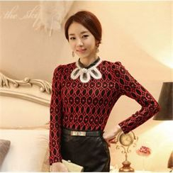 AiSun - Long-Sleeve Patterned Lace Panel Top