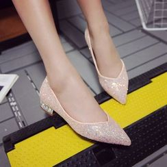 JY Shoes - Sequined Pointy Toe Flats