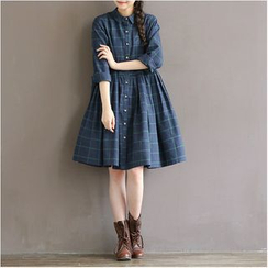 Clover Dream - Long-Sleeve Plaid Dress