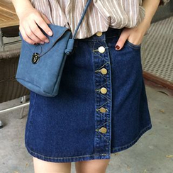 Dute - Buttoned A-line Denim Skirt