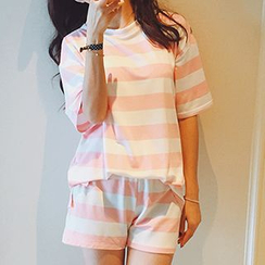 Shimi - 套裝: 條紋T恤 + 短褲