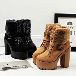 Anran - Furry Trim Chunky Heel Lace Up Boots