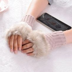 Thirteenth Station - Furry Knit Gloves