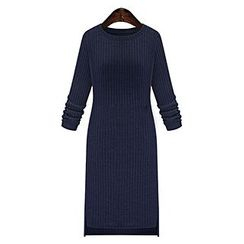 Queen Bee - Long-Sleeve Rib-Knit Dress