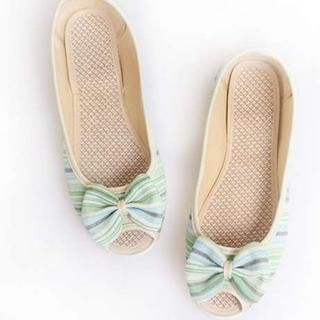 Pangmama - Peep-Toe Bow-Accent Striped Flats