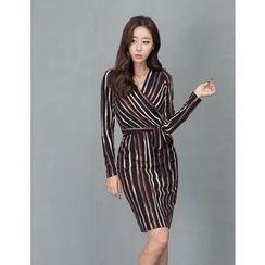 GUMZZI - Striped Wrap Tied Waist Dress