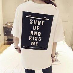 NANING9 - Brushed-Fleece Lettering Print T-Shirt