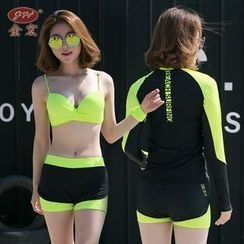 GIZZI - Set: Bikini + Color Panel Zip Rashguard