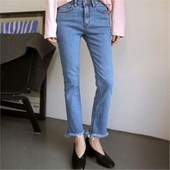 QNIGIRLS - Fringed-Hem Straight-Cut Jeans