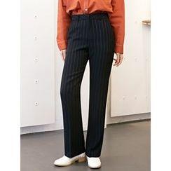FROMBEGINNING - Striped Boot-Cut Dress Pants