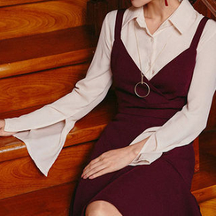chuu - Set: Backless Bustier Top + Ruffle-Hem Skirt