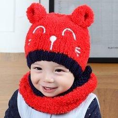 POMME - 嬰兒套裝: 貓無邊帽 + 圓圈圍巾