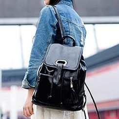 Sugar Plum - Tasseled Faux Leather Backpack
