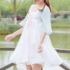 Moriville - Elbow-Sleeve Panel Dress