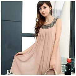 HOTCAKE - Maternity Embellished Sleeveless Chiffon Dress