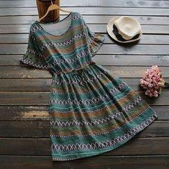 YOYO - Ruffle Sleeve Patterned A-Line Dress