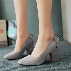 Pretty in Boots - Block Heel Pointy Pumps