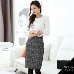 COCOAVENUE - Set: Beads-Neckline Cotton Top + Patterned Pencil Skirt