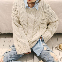 NANING9 - Oversized Cable Sweater